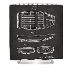 1938 Rowboat Patent Artwork - Gray Shower Curtain by Nikki Marie Smith