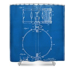 1939 Snare Drum Patent Blueprint Shower Curtain by Nikki Marie Smith