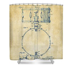 1939 Snare Drum Patent Vintage Shower Curtain by Nikki Marie Smith