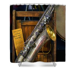 1940ish Saxophone Shower Curtain by Thomas Woolworth