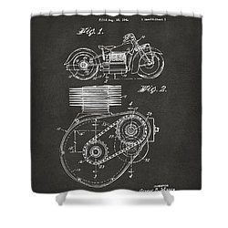 1941 Indian Motorcycle Patent Artwork - Gray Shower Curtain by Nikki Marie Smith