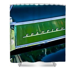 1941 Sudebaker Champion Coupe Emblem Shower Curtain by Jill Reger