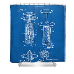 1944 Wine Corkscrew Patent Artwork - Blueprint Shower Curtain by Nikki Marie Smith