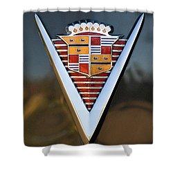 1947 Cadillac Emblem Shower Curtain by Jill Reger
