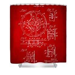 1949 Movie Film Reel Patent Artwork - Red Shower Curtain by Nikki Marie Smith