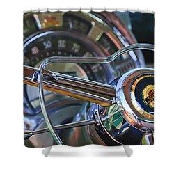 1950 Chrysler New Yorker Coupe Steering Wheel Emblem Shower Curtain by Jill Reger