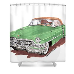 1951 Cadillac Series 62 Convertible Shower Curtain by Jack Pumphrey