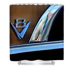 1951 Ford Crestliner V8 Emblem Shower Curtain by Jill Reger