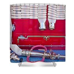 1952 L Model Mack Pumper Fire Truck Hoses Shower Curtain by Jill Reger