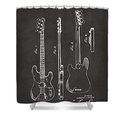 1953 Fender Bass Guitar Patent Artwork - Gray Shower Curtain by Nikki Marie Smith