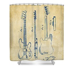 1953 Fender Bass Guitar Patent Artwork - Vintage Shower Curtain by Nikki Marie Smith