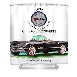 1954 Corvette First Generation Shower Curtain by Jack Pumphrey