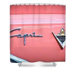 1955 Lincoln Capri Emblem 2 Shower Curtain by Jill Reger