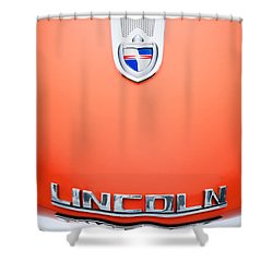 1955 Lincoln Indianapolis Boano Coupe Emblem Shower Curtain by Jill Reger