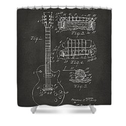 1955 Mccarty Gibson Les Paul Guitar Patent Artwork - Gray Shower Curtain by Nikki Marie Smith