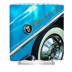 1955 Mercury Monterey Wheel Emblem Shower Curtain by Jill Reger