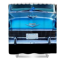 1956 Cheverolet In Blue Shower Curtain by Davandra Cribbie
