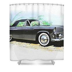 1956 Ford Thunderbird  Black  Classic Vintage Sports Car Art Sketch Rendering         Shower Curtain by John Samsen