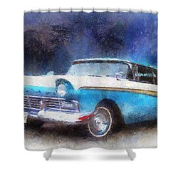 1957 Ford Classic Car Photo Art 02 Shower Curtain by Thomas Woolworth