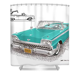 1959 Ford 500 Fairlane Retractable Hard Top Shower Curtain by Jack Pumphrey