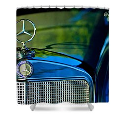 1960 Mercedes-benz 220 Se Convertible Hood Ornament Shower Curtain by Jill Reger