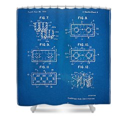 1961 Lego Brick Patent Artwork - Blueprint Shower Curtain by Nikki Marie Smith
