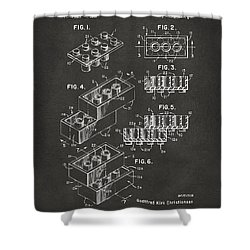 1961 Toy Building Brick Patent Art - Gray Shower Curtain by Nikki Marie Smith