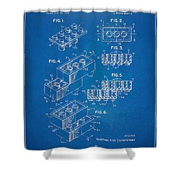 1961 Toy Building Brick Patent Artwork - Blueprint Shower Curtain by Nikki Marie Smith
