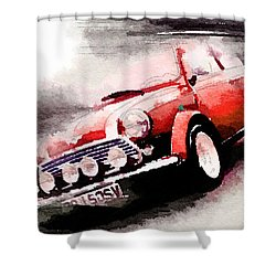 1963 Austin Mini Cooper Watercolor Shower Curtain by Naxart Studio