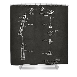 1963 Space Capsule Patent Gray Shower Curtain by Nikki Marie Smith