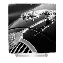 1964 Jaguar Mk2 Saloon Hood Ornament And Emblem Shower Curtain by Jill Reger