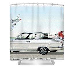 1965 Barracuda  Classic Plymouth Muscle Car Shower Curtain by John Samsen