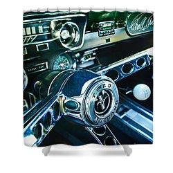 1965 Shelby Prototype Ford Mustang Steering Wheel Emblem 2 Shower Curtain by Jill Reger