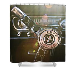 1965 Shelby Prototype Ford Mustang Steering Wheel Emblem Shower Curtain by Jill Reger