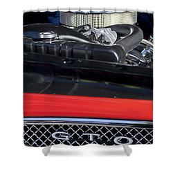 1967 Pontiac Gto Engine Emblem Shower Curtain by Jill Reger