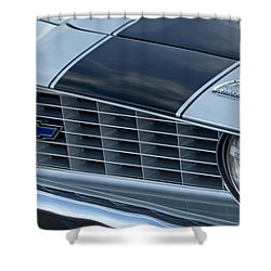 1969 Chevrolet Camaro Z 28 Grille Emblem Shower Curtain by Jill Reger
