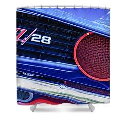 1969 Chevrolet Camaro Z28 Grille Emblem Shower Curtain by Jill Reger