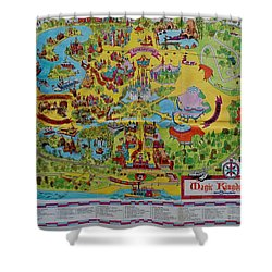 1971 Original Map Of The Magic Kingdom Shower Curtain by Rob Hans