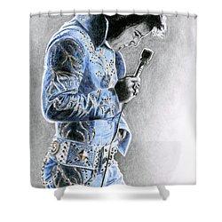 1972 Light Blue Wheat Suit Shower Curtain by Rob De Vries