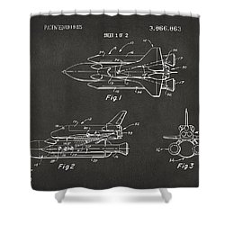 1975 Space Shuttle Patent - Gray Shower Curtain by Nikki Marie Smith