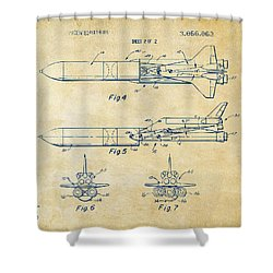 1975 Space Vehicle Patent - Vintage Shower Curtain by Nikki Marie Smith