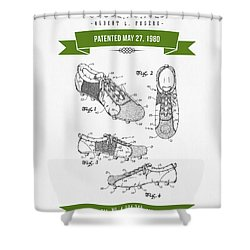 1980 Soccer Shoes Patent Drawing - Retro Green Shower Curtain by Aged Pixel
