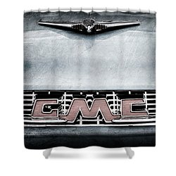 1956 Gmc 100 Deluxe Edition Pickup Truck Hood Ornament - Grille Emblem Shower Curtain by Jill Reger