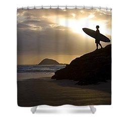 A Surfer On Muriwai Beach New Zealand Shower Curtain by Deddeda