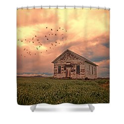 Abandoned Building In A Storm Shower Curtain by Jill Battaglia
