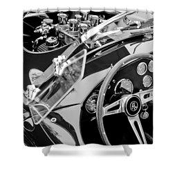 Ac Shelby Cobra Engine - Steering Wheel Shower Curtain by Jill Reger