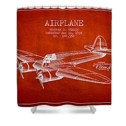 Airplane Patent Drawing From 1938 Shower Curtain by Aged Pixel