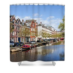 Boats On Amsterdam Canal Shower Curtain by Artur Bogacki
