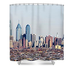 Buildings In A City, Comcast Center Shower Curtain by Panoramic Images