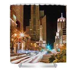 Chicago Michigan Avenue Light Streak Shower Curtain by Christopher Arndt